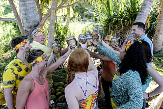"""""""It Smells Like Success"""" - The Kama Tribe on the premiere of SURVIVOR: Edge of Extinction, Wednesday, Feb. 20 (8:00- 9:00 PM, ET/PT) on the CBS Television Network. Timothy Kuratek/CBS Entertainment ©2018 CBS Broadcasting, Inc. All Rights Reserved."""